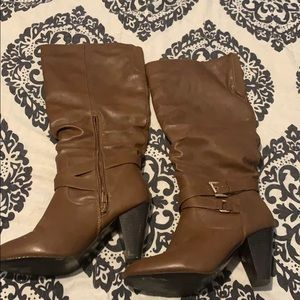 Brown tall leather high heeled boots size 8